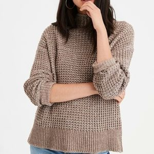 American Eagle Mock Neck Chunky Slouch Sweater